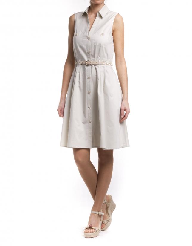 Flared shirtwaist dress