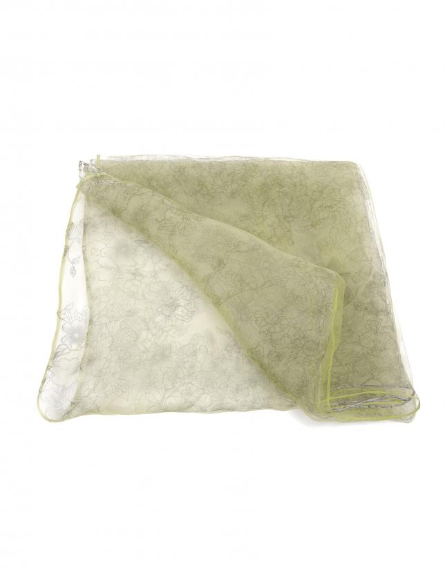 tole en soie citron vert à motif