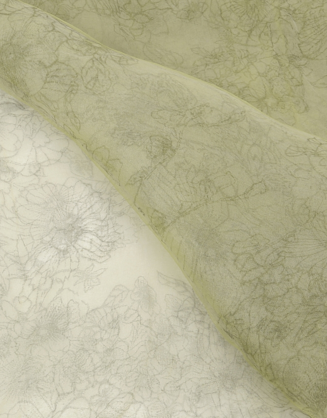 Lime print silk scarf