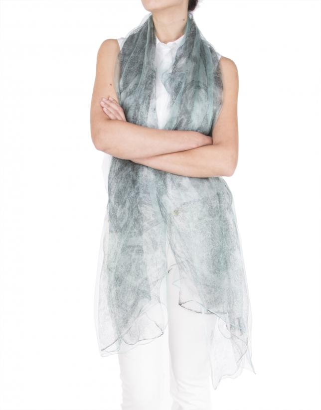 tole en soie bleue à motif