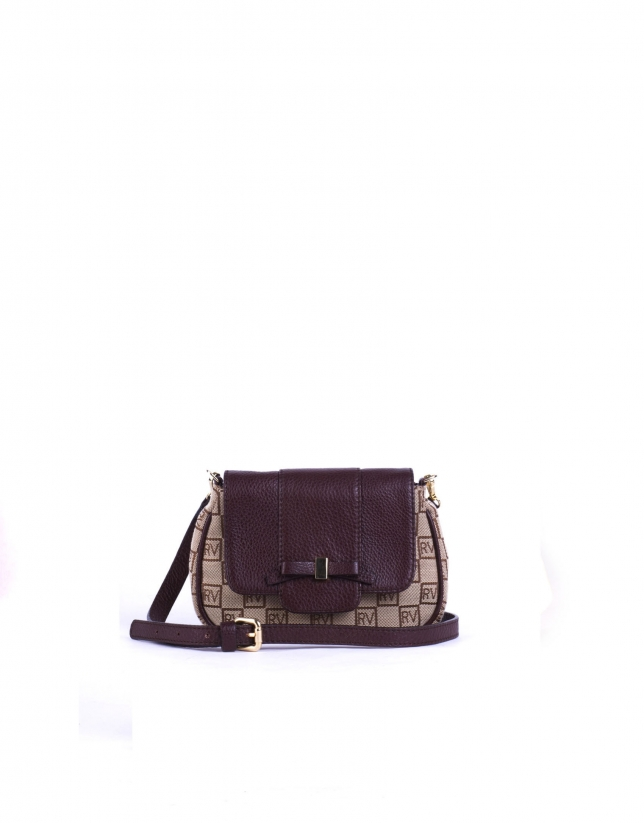 TAMARA TAN: Tan and beige RV jacquard and cowhide shoulder bag