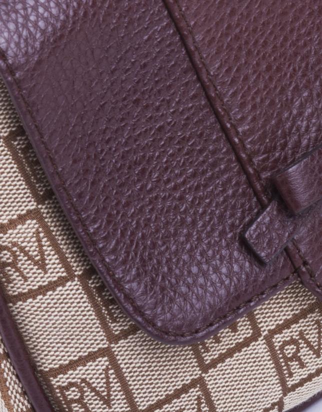 TAMARA TAN: Tan and beige RV jacquard and cowhide shoulder bag