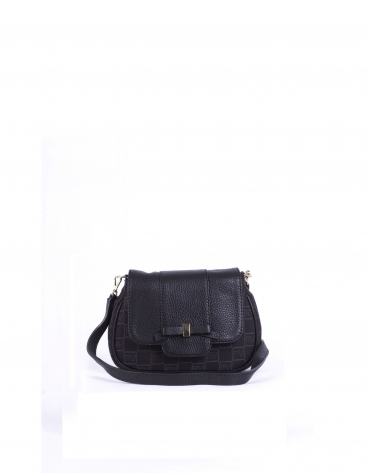TAMARA BLACK: Black RV jacquard and cowhide shoulder bag