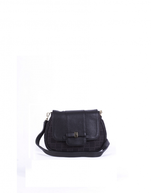 TAMARA BLACK: Black RV jacquard and cowhide shoulder bag