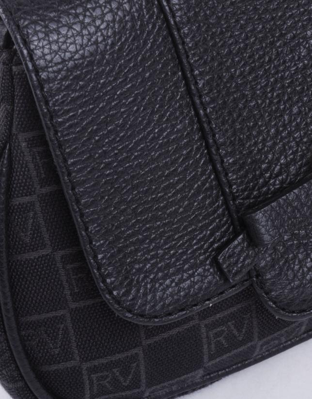 TAMARA NOIR: Sac bandoulière jacquard logo RV