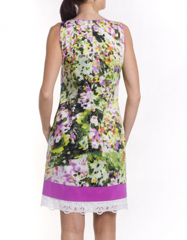 Print dress with trim at hem