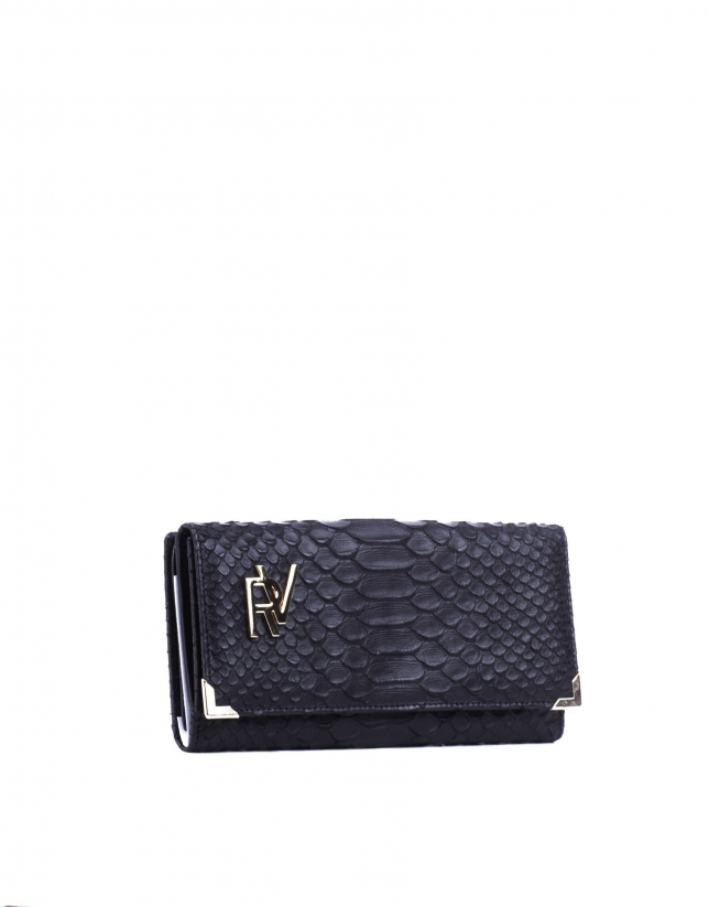 Embossed-crocodile leather wallet