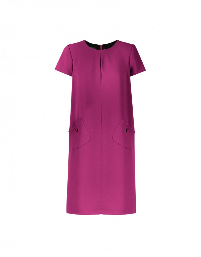 Pink crepe dress with button pockets