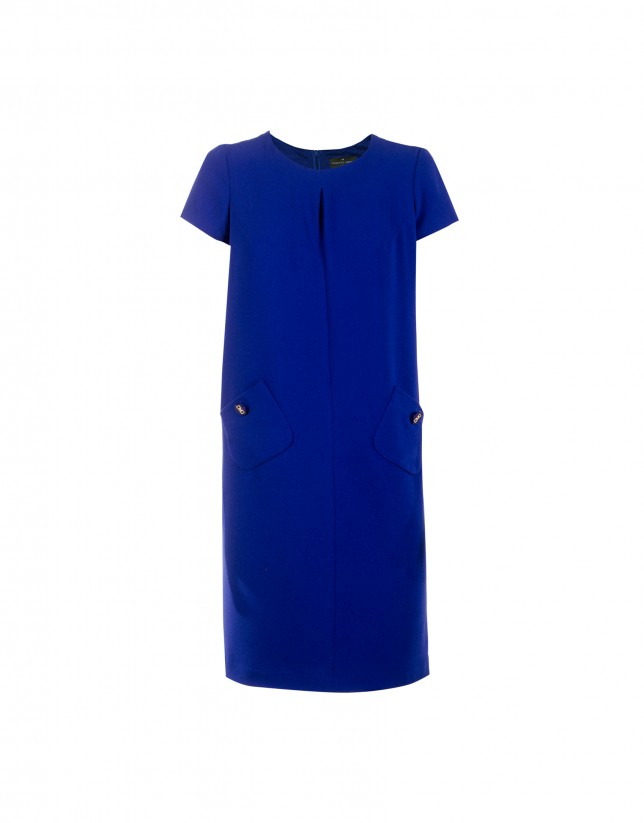 Blue crepe dress with button pockets