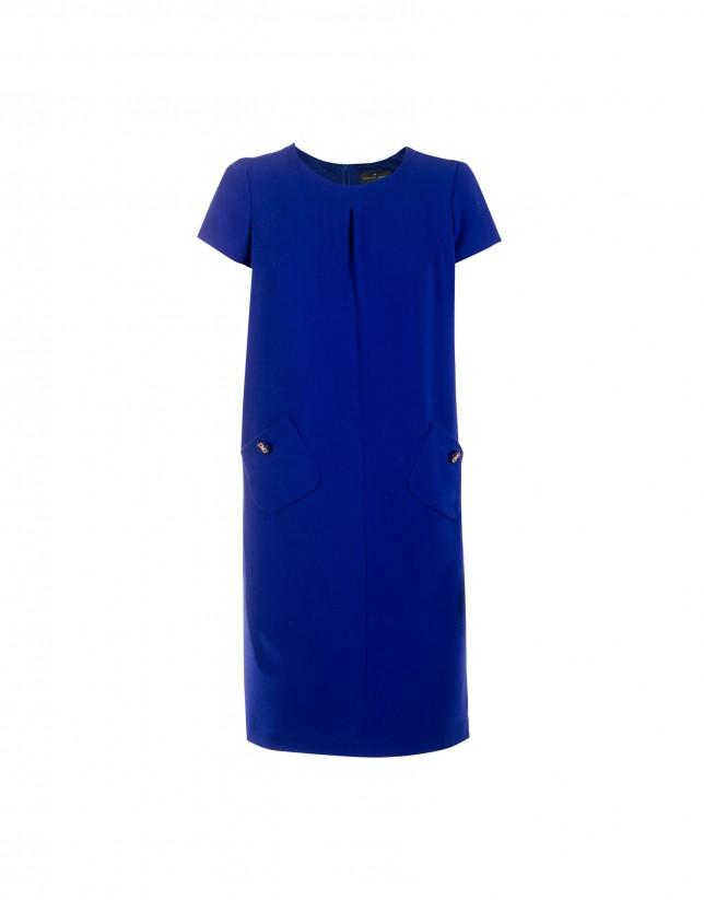 Vestido evasé crepe azul