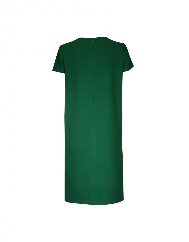 Green crepe dress with button pockets