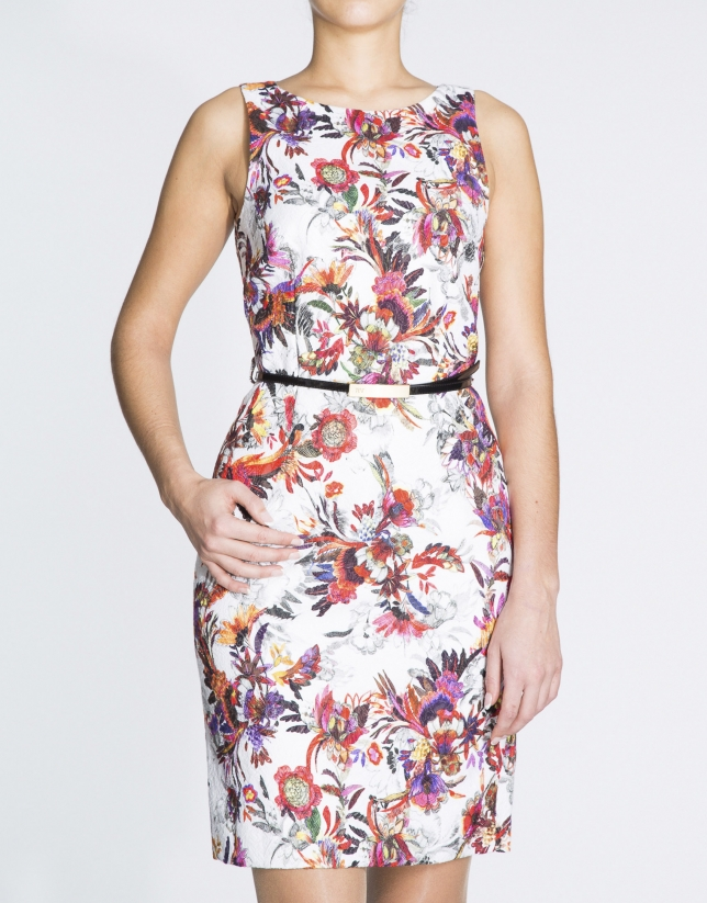 Floral print straight dress with slits