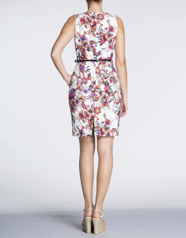 Robe droite à bretelles, motif floral.