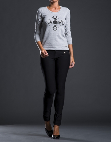 Gray print t-shirt with beading