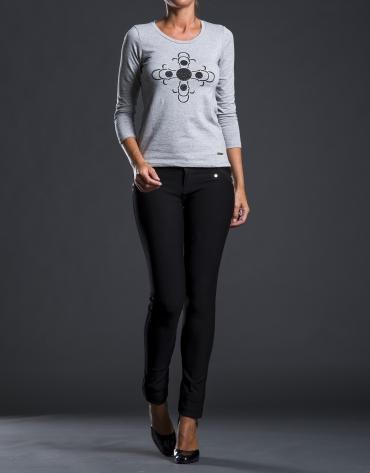 Tee-shirt impression pierreries gris