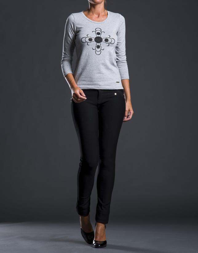 Camiseta gris estampación pedrería