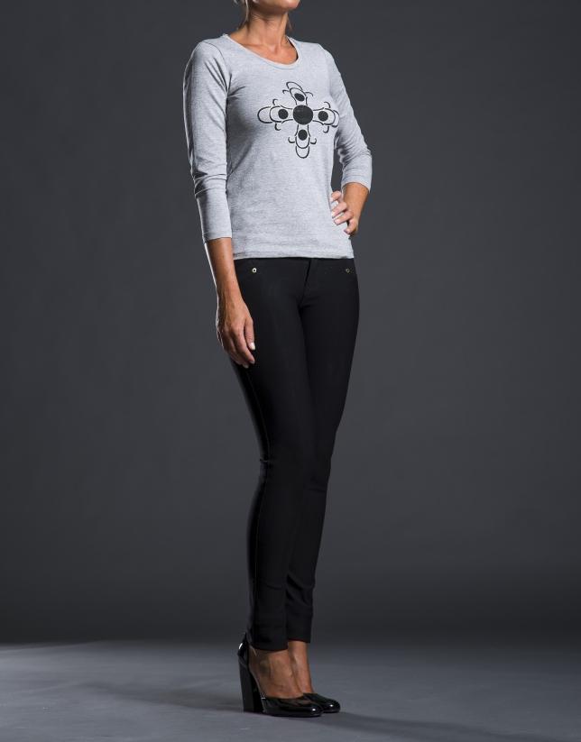 Gray print t-shirt with beading