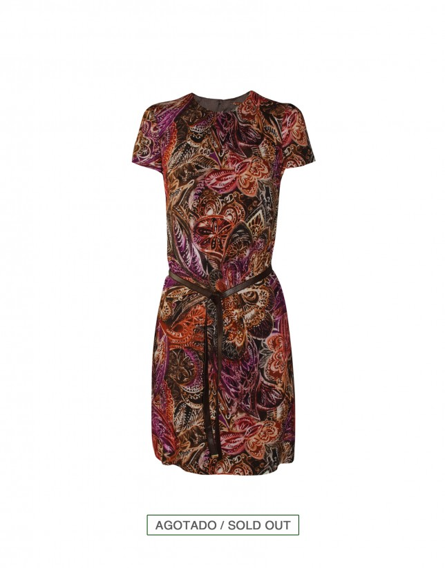 Burgundy print dress