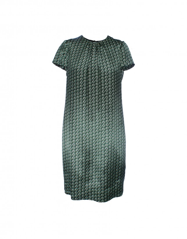 Silk dress in green print