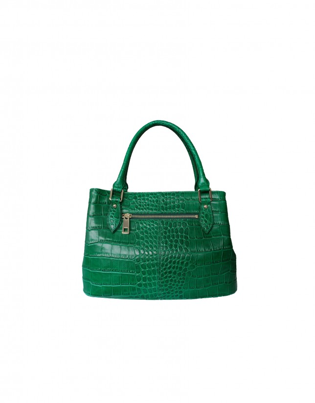 Medium size green tote bag