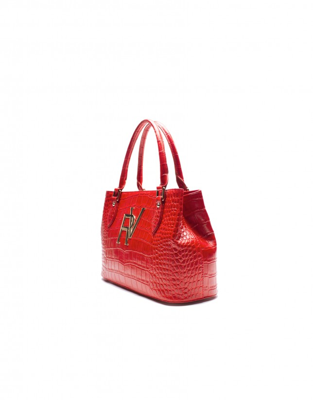 Medium size red tote bag