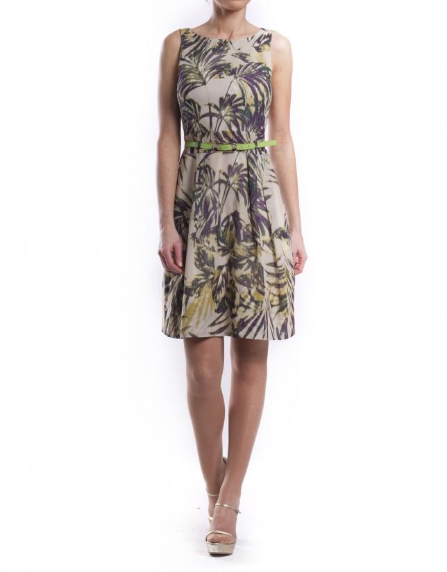 Beige print dress