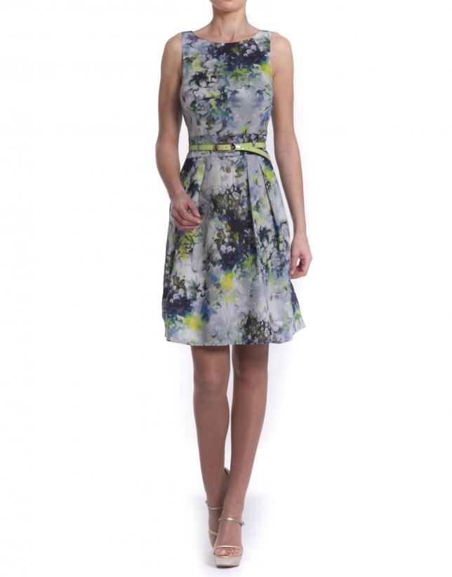 Sea green printed dress