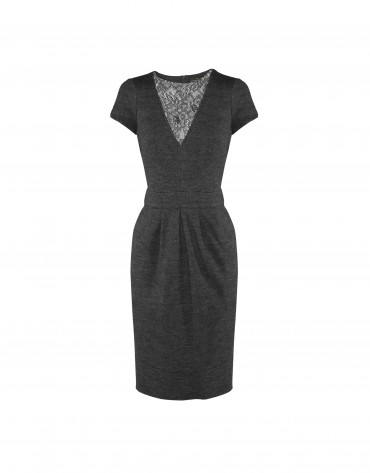 Grey dress lace neckline
