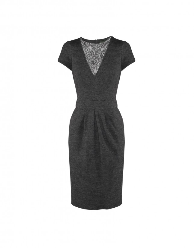 Grey dress with lace neckline