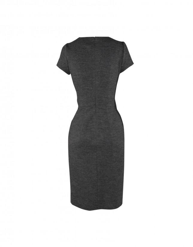 Grey dress with lace neckline