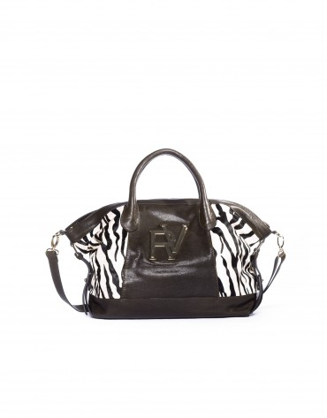 Tote in zebra print and leather.