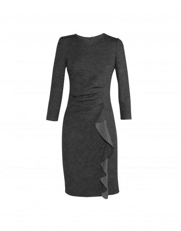 Grey dress verticle ruffle