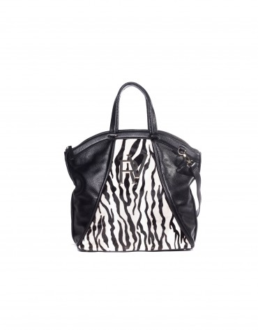 Large tote in zebra print and leather