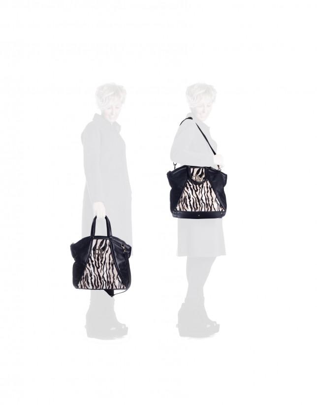 Bolso shopping combinado cebra negro