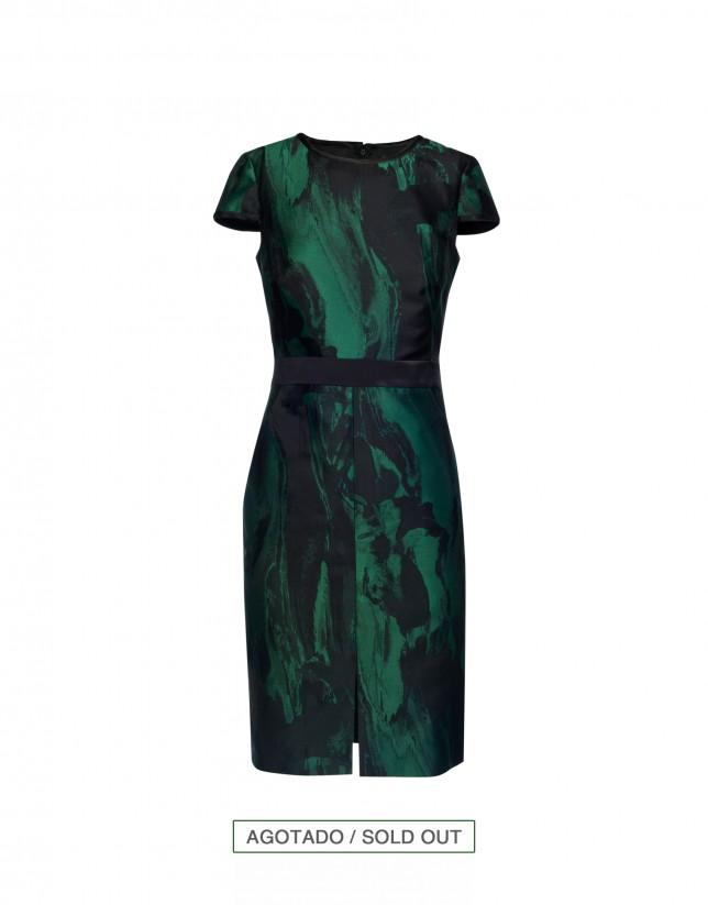 Vestido verde/negro vivos en negro
