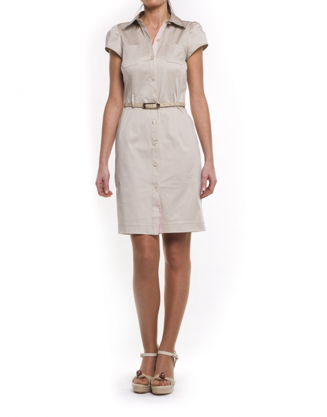 Short sleeve shirtwaist dress