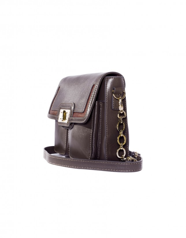 Shoulder bag in grey leather