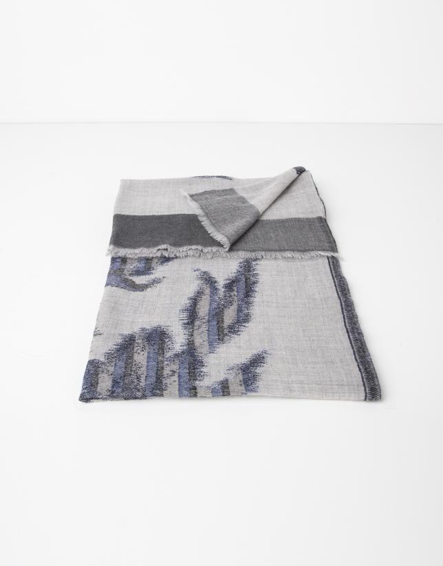 Foulard en laine imprimé en gris et bleu