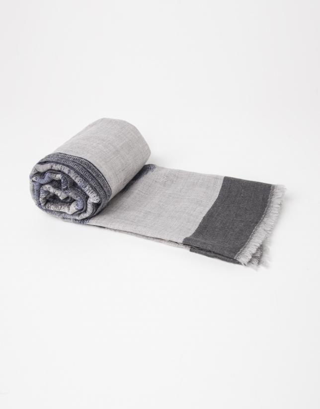 grey and blue print wool scarf