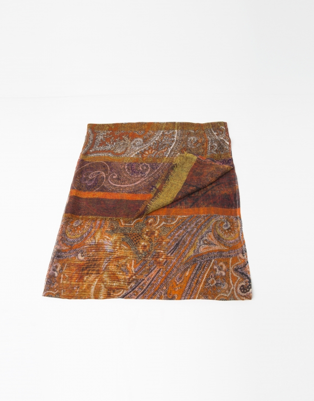 Gold wool and silk scarf