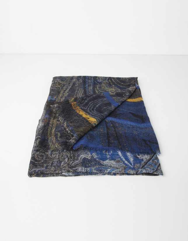 Blue print wool and silk scarf