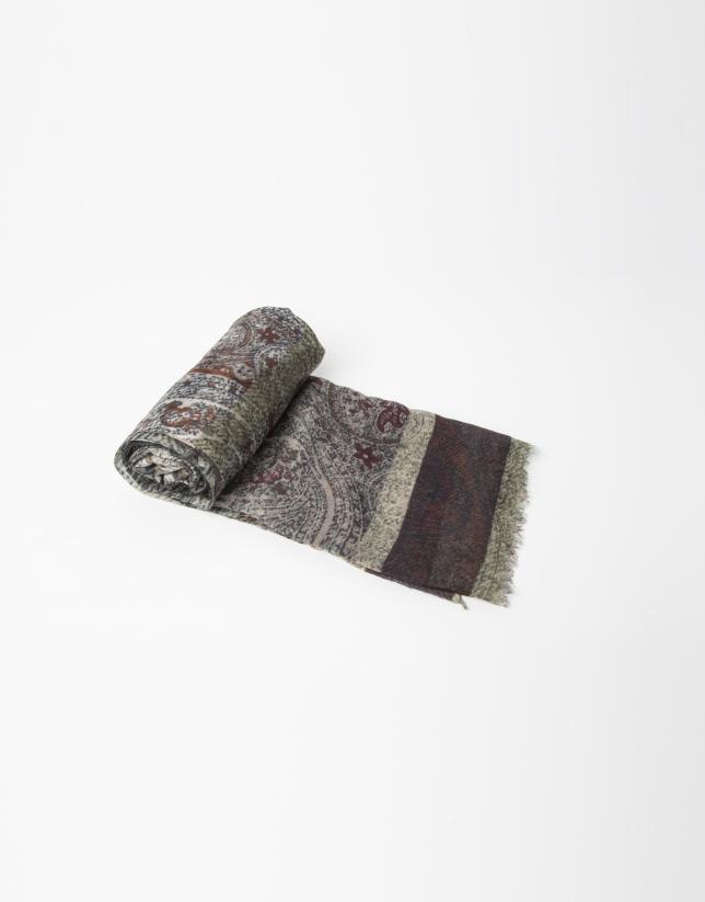 Foulard en laine et soie imprimé vert