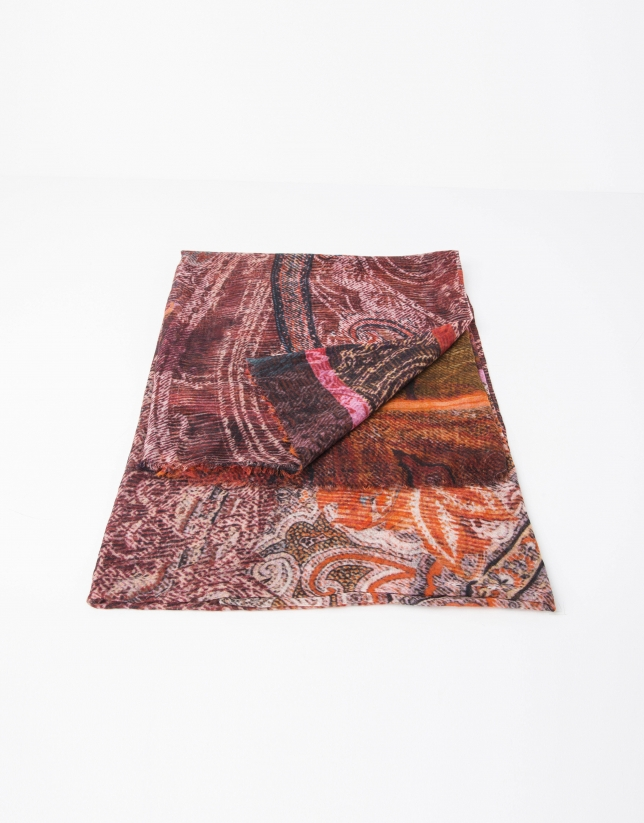 Foulard lana y seda estampado mostaza