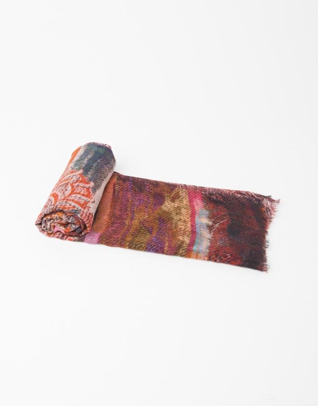 Foulard en laine et soie imprimé couleur moutarde