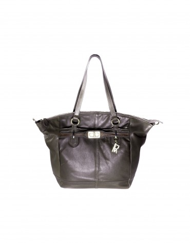 Large leather tote in grey