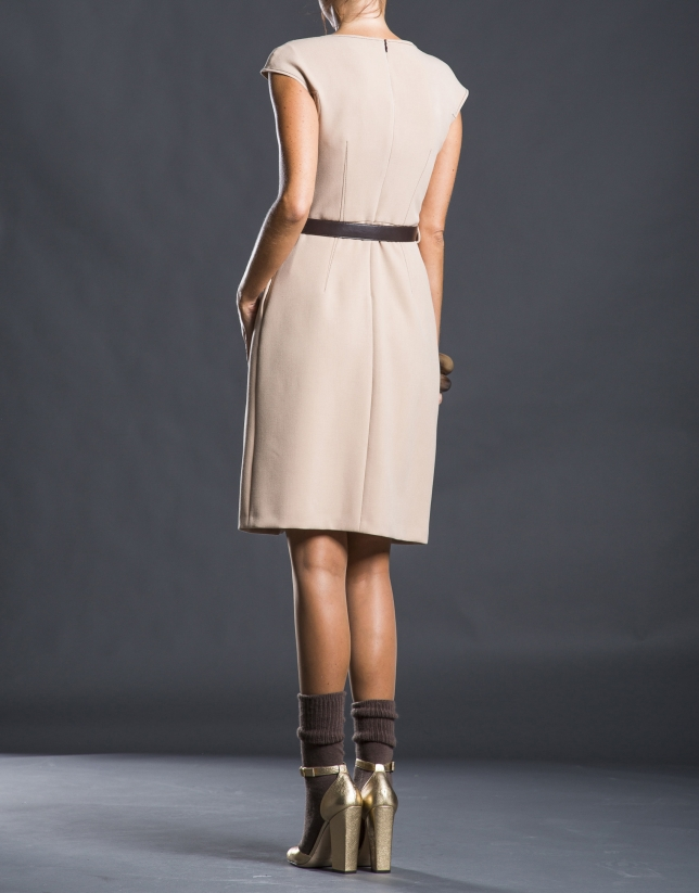 Beige pleated and belted dress