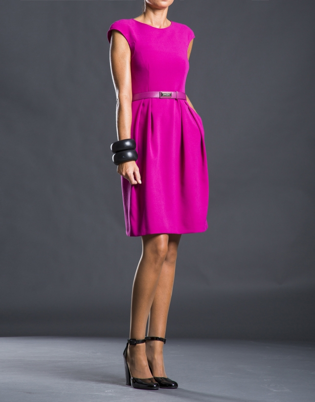 Fuchsia pleated and belted dress