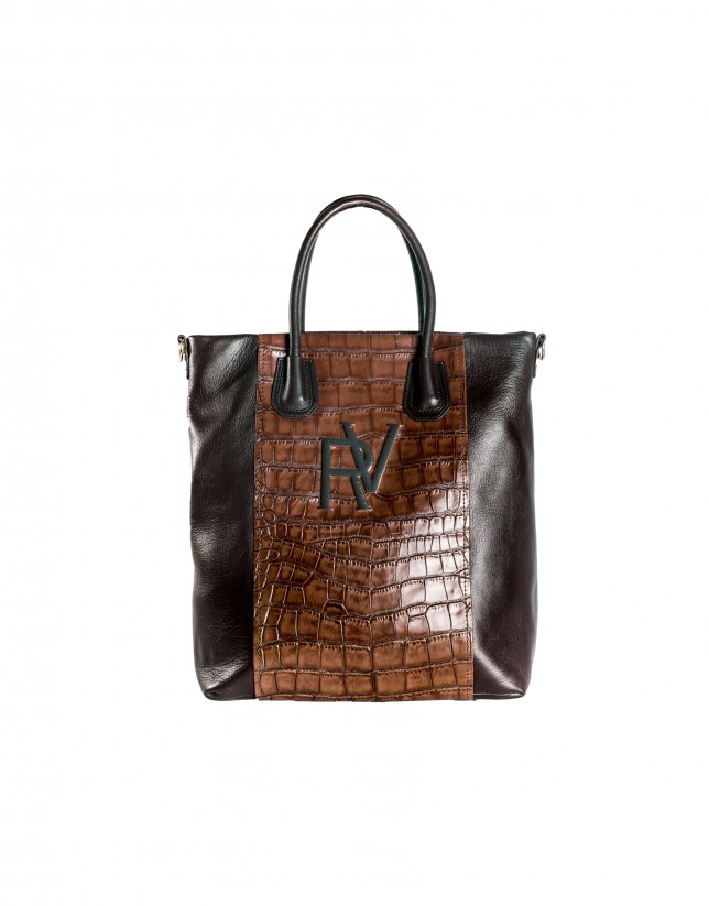 Oversized shopping bag brown combined