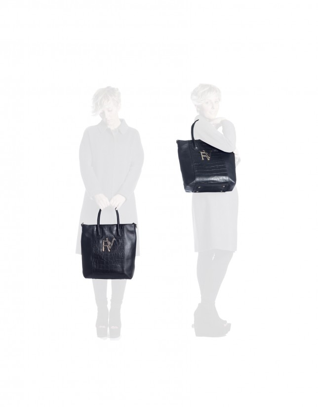 Oversized shopping bag black combined