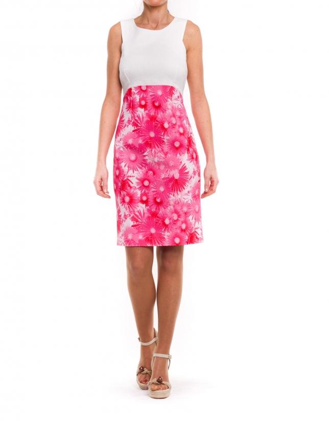 Combined plain-print dress